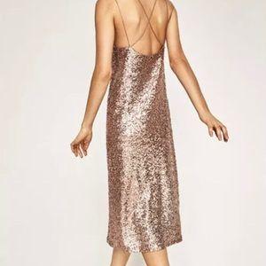 ZARA XS calf length sequin dress
